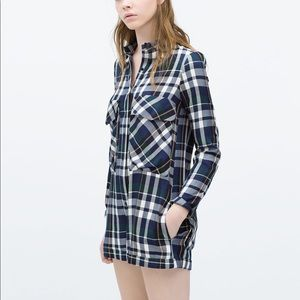 Like New Plaid Check Shirt Style Romper